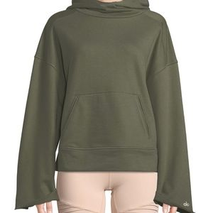 New ALO YOGA Low Key Olive Bell Sleeve Hoodie XS